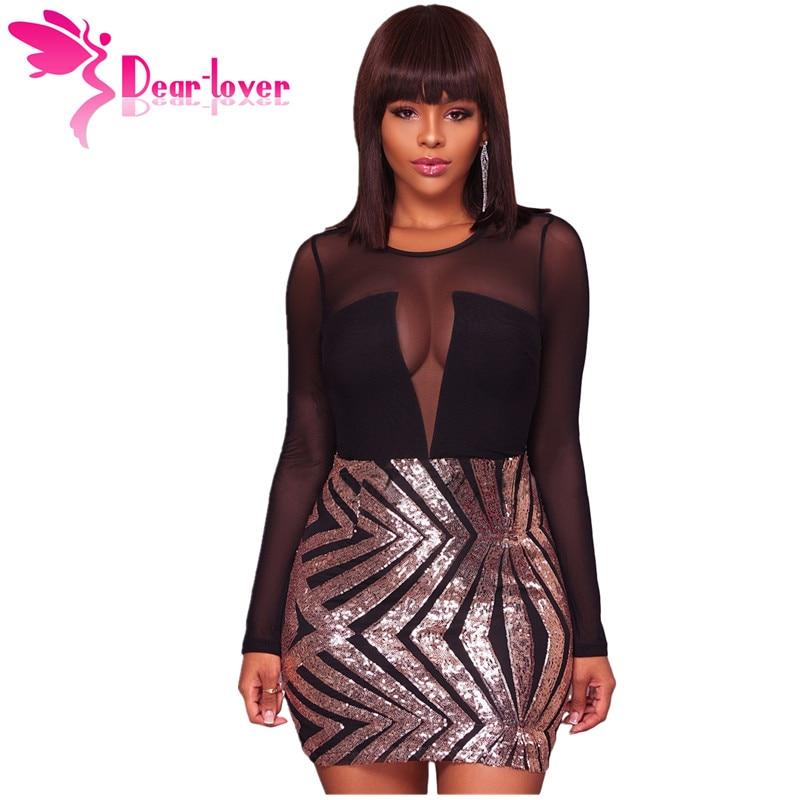 1b322f936 Dear Lover Sexy Party Dress Sequin Black Sheer Mesh Long Sleeve Champagne  Night Club Bodycon Dress