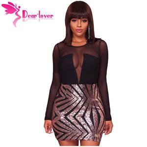 dear-lover Sexy Party Dress Black Long Sleeve Bodycon a14dce4b5768