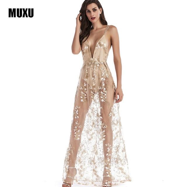 MUXU sexy vestido de tirantes transparente verano largo oro lentejuelas  vestido brillante sin espalda vestidos largos b5b95757525f
