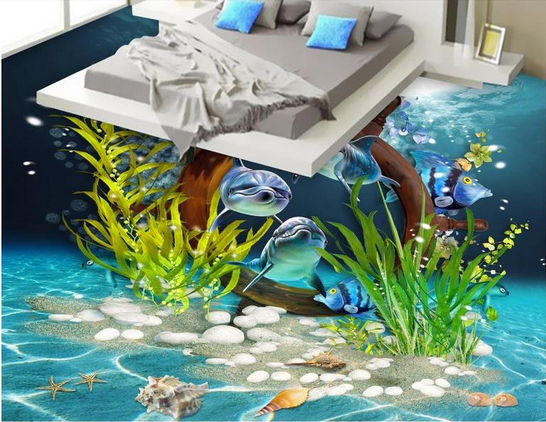 Creative Vinyl Floor Tiles HD Wallpaper 3d For Walls Shellfish Dolphins 3d Flooring For Living Room Wallpaper 3d flooring underwater murals hd coral 3d floor wallpaper for bedroom walls vinyl floor wallpaper 3d for children room