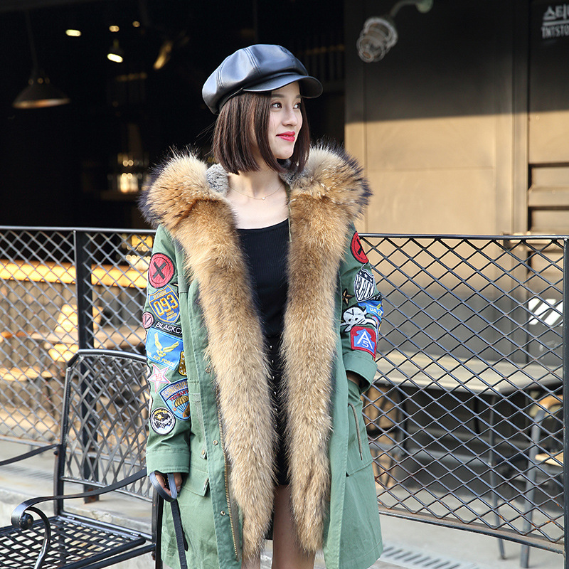 2017 Fur coat Winter jacket women Parka Real natural Large Raccoon fur collar Rabbit fur Hooded jacket Coat Patch Designs