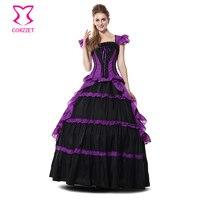 ロリータ黒と紫フリルゴシックビクトリア朝女王ロングドレスボールガウン姫衣装ハロウィン衣装のための女