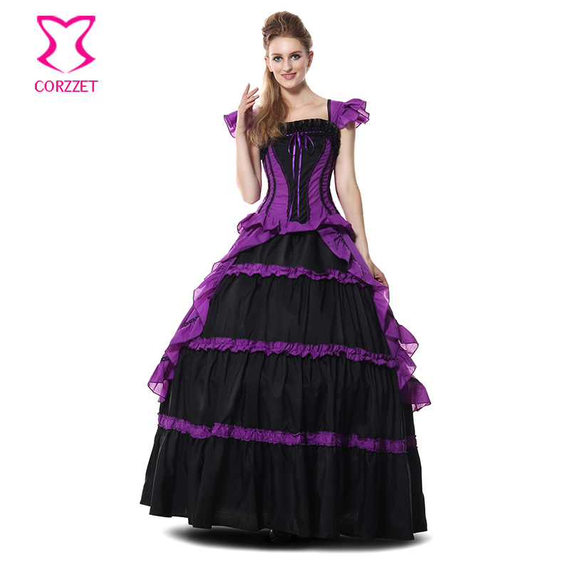Lolita Black And Purple Ruffle Gothic Victorian Queen Long Dress Ball Gown Cosplay Princess Costume Halloween Costumes for Women