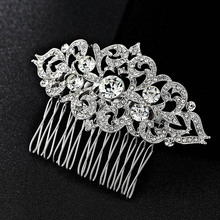 Blucome Bridal Hair Jewelry Fashion Bride Hair Combs Accessories Women Hairpins Tiara Rhinestone Head Jewelry for Bridal Gifts