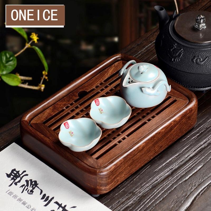 Plateau à thé Kung Fu trompette rempli avec plateau d'eau Table à thé en acajou bois wengé ébène plateaux de Gongfu chinois