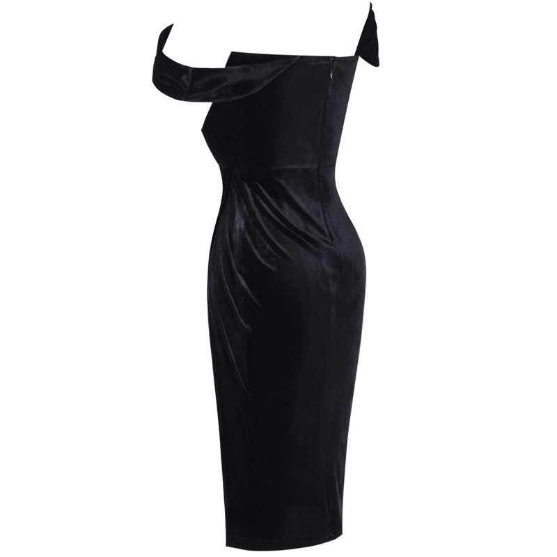 Ocstrade الأسود المخملية مشد صد فستان