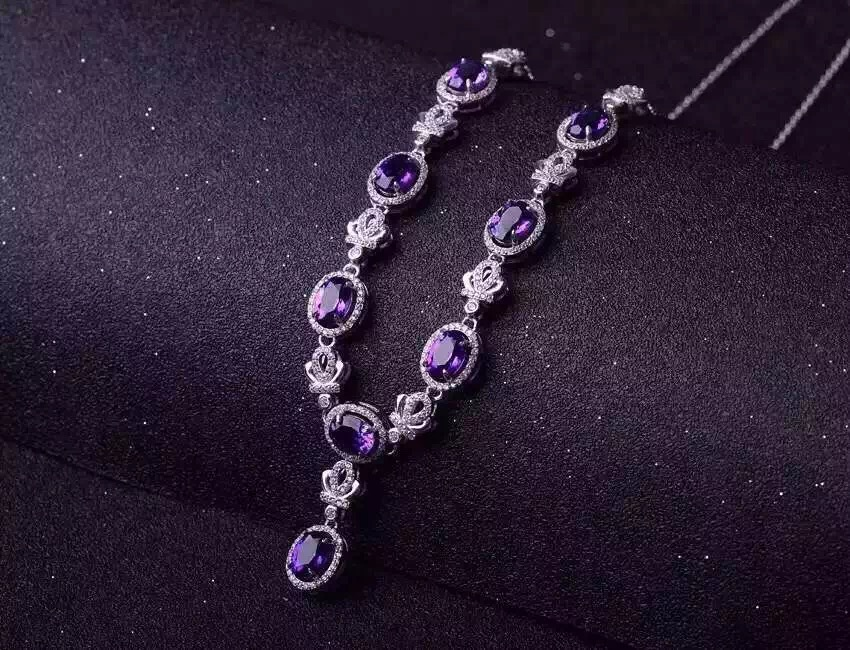 Natural amethyst Necklace Natural crystal  Pendant Necklace S925 sliver women Luxury trendy big Crown women party fine Jewelry-in Necklaces from Jewelry & Accessories    2
