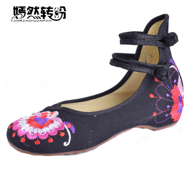 quality design 5abfc a4ffd Women Flats Shoes Chinese Knot Retro Embroidery Flower Flats Vintage Floral  Casual Single Dance Ballet Shoes Zapatos