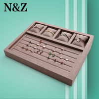 N&Z 37.5*28.5*8cm brown jewelry display tray with high great linen material ring earrings bracelet display stand holder