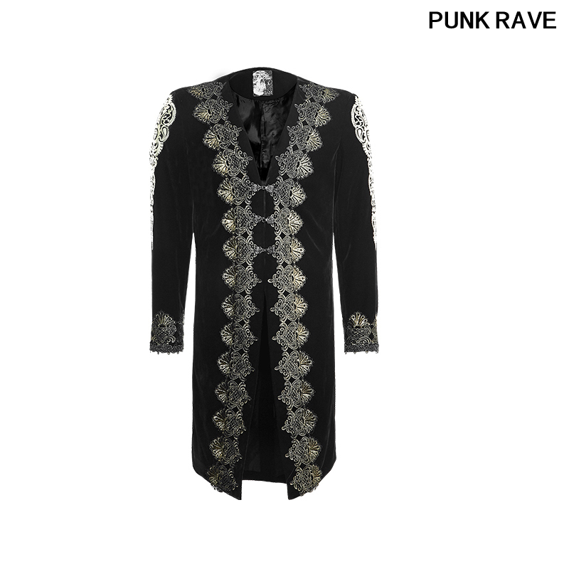 Gothic Velvet Gold Embroidery Halloween Costume Party Coat Aesthetic Embossed Retro Man Long Black Jacket   Trench   PUNK RAVE Y-641