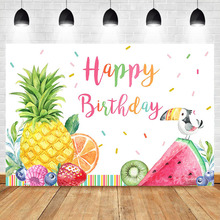 Happy Birthday Photography Background Summer Fruit Child Birthday Party Banner Backdrops Dessert Table Decorations Props circus happy birthday backdrop clorful balloon flag photography background kids child birthday party dessert table decorate prop