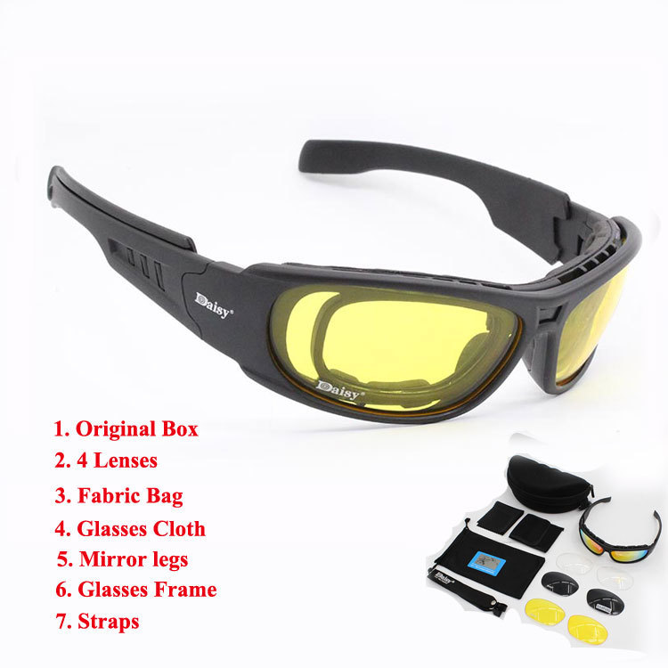 Daisy C6 Polarized Glasses CS Army Tactical Motorcycle Hunting Shooting Airsoft Bullet-proof Military Goggles with 4 Lens KitDaisy C6 Polarized Glasses CS Army Tactical Motorcycle Hunting Shooting Airsoft Bullet-proof Military Goggles with 4 Lens Kit