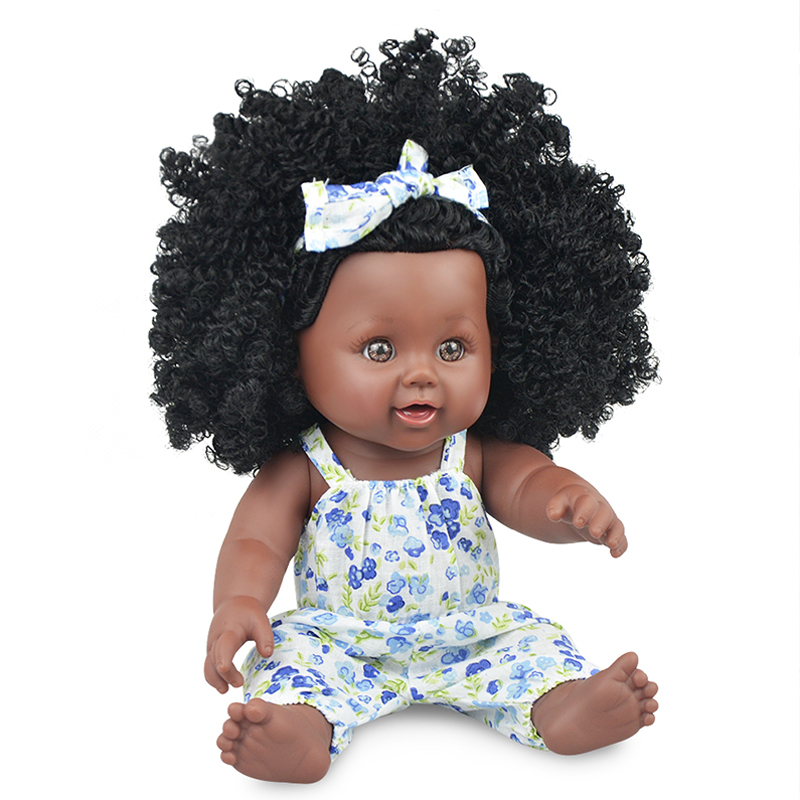 Fashion African Baby Dolls Black Realistic Lovely lol Reborn Baby Lady Dolls Soft Silicone Vinyl 30cm Baby Girl Toy With Cloths in Dolls from Toys Hobbies