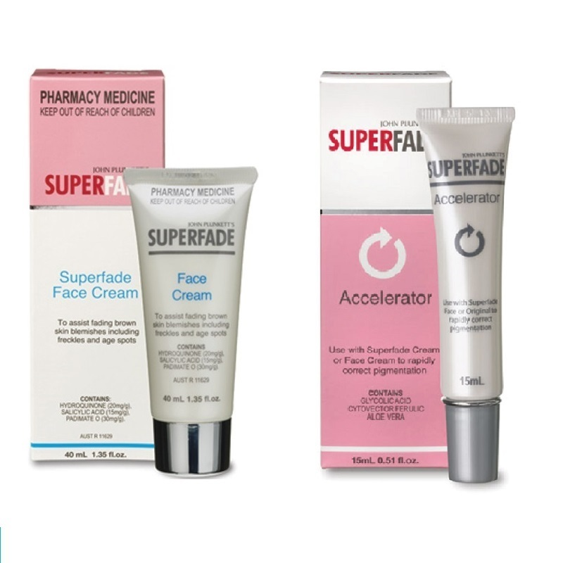 Australia Superfade Face Cream+ Accelerator Hydroquinone Cream for Fading Brown Skin Blemishes Age Spots Freckles Pigmentation