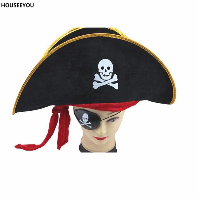Creativo Accessori di Halloween Del Cranio Del Cappello Caraibico Cappello  Da Pirata Cappello Teschio Pirata Cappello d068d493908f