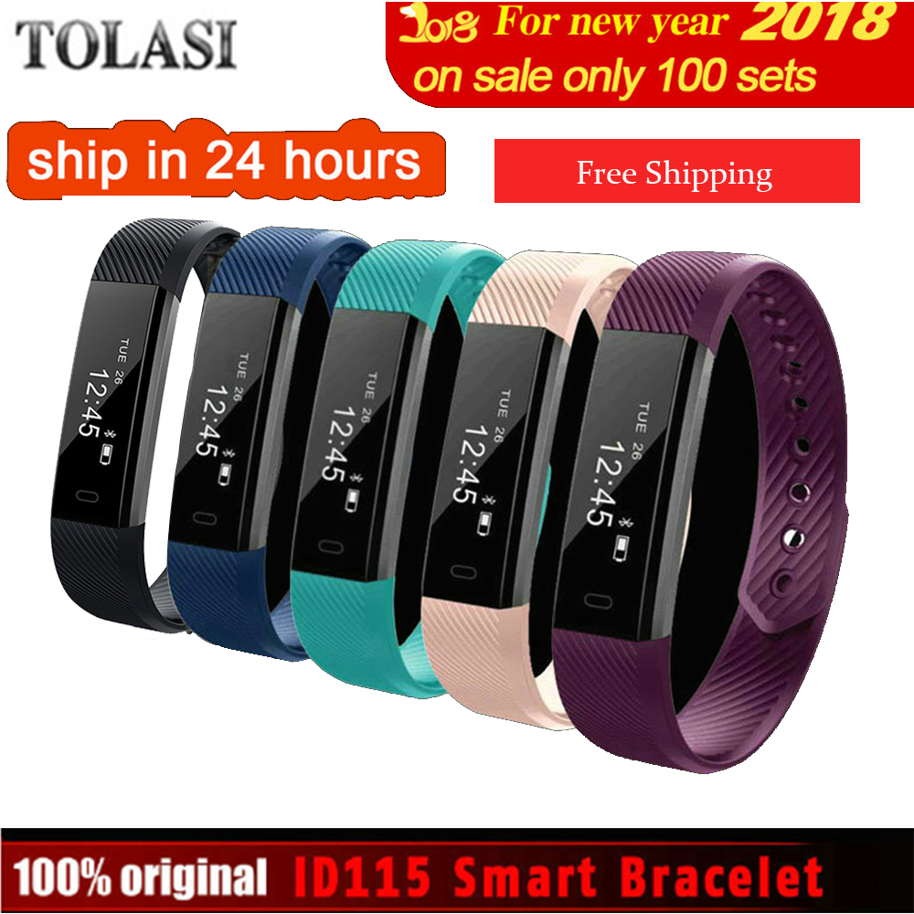 где купить ID115 Smart Bracelet Fitness Tracker Step Counter Activity Monitor Band Alarm Clock Vibration Wristband IOS Android phone 2018 дешево