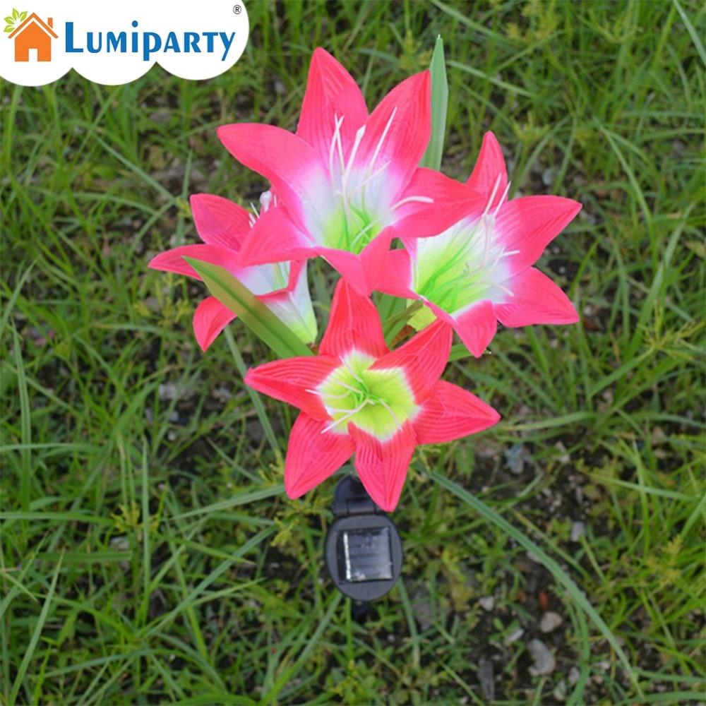 LumiParty солнечные красный цветок лилии свет открытый светодиодный Цвет изменение Водон ...