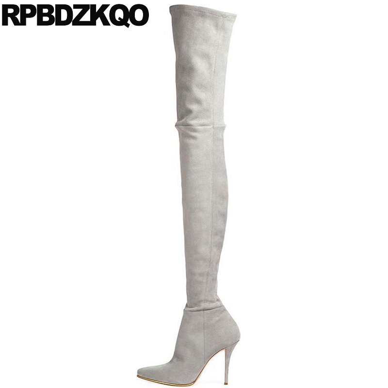 Stretch Winter Over The Knee Grey Pointed Toe Slim Shoes Suede Thigh Women Boots Stiletto Brand Crotch High Long Fur Heel Sexy 2017 winter cow suede slim boots sexy over the knee high women snow boots women s fashion winter thigh high boots shoes woman