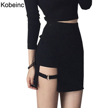 Sexy Spy Women's Skirts Mini Asymmetrical Saias Black High waist Female Jupe 2017 Design Faldas Female Personality Party Skirt