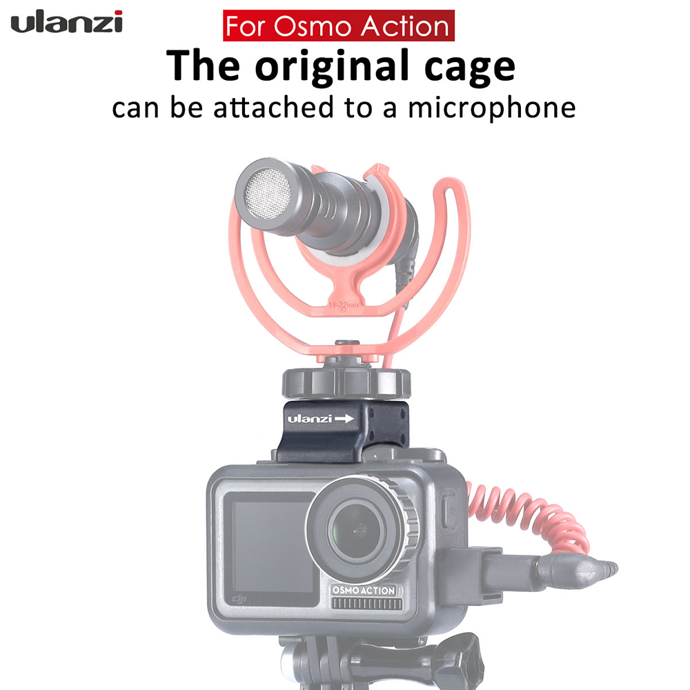Ulanzi Microphone Cold Shoe Mount for Osmo Action Highten Microphone Clamp Qucik Release Plate for Original DJI Osmo Action Cage in Photo Studio Accessories from Consumer Electronics