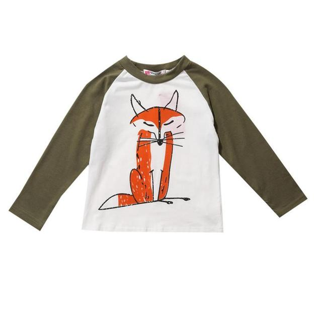 2017 Toddler Kids Baby Boys Girls Infant Autumn Long Sleeve Patchwork Fox T-Shirt Tops Clothing Cotton T-Shirts