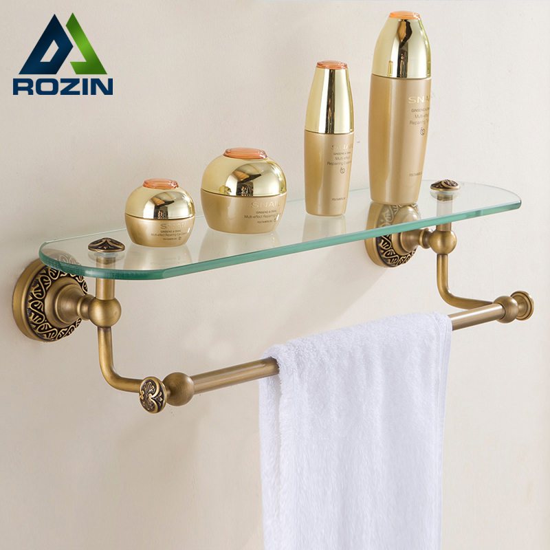 New Antique Brass Bathroom Single Tier Bathroom Glass Storage Rack ...
