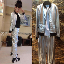 silver thin leather jacket space handsome suit 2017 new big European women
