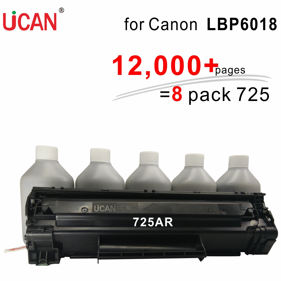 for Canon LBP 6018 UCAN CTSC(kit)  12,000 pages equivalent to 8-Pack ordinary CRG 725  Laser Toner Cartridges картридж colouring cg ce285x 725 для hp lj pro p1100 p1102 p1102w m1130 m1132 m1212nf m1212nfw 1214nfh м1217 m1210 canon laser shot lbp6000 6018 6020 2000стр