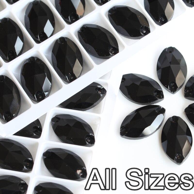 ộ_ộ ༽Cristal rhinestones coser Jet negro flatback caballo ojo 2 ...