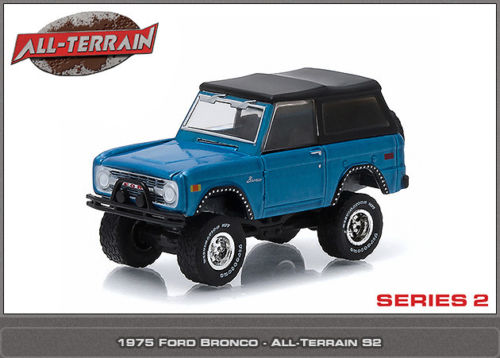 Green Light 1:64 1975 Ford Bronco blue alloy toy car toys ...