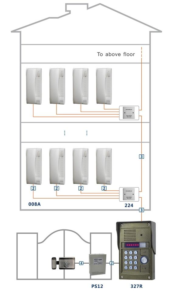 ZHUDELE Luxury Digital non visual building intercom system audio door phone for 20 apartments ID card zhudele luxury digital non visual building intercom system audio