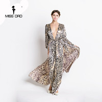 Free Shipping Missord 2015 Sexy Deep V Long Sleeve Split Leopard Printing Dress Beach Dress FT2294