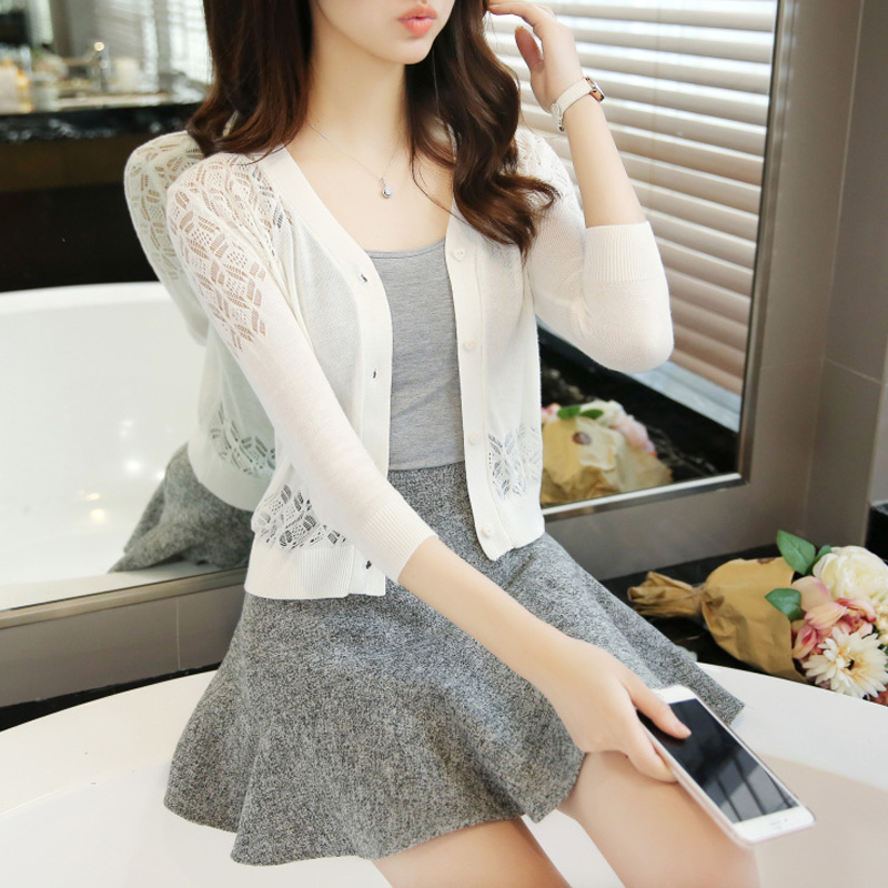 Thin Knitted Sweater Cardigan Summer Air Conditioner Sunscreen 7-minute Sleeve With Shawl And Jacquard Jacquard Jacket