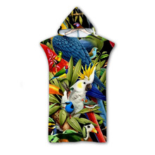 3D Digital Printing Parrot Hooded Towel Wearable Bath For Adults Flamingo Tropical Travel Microfiber Beach Towels style-1