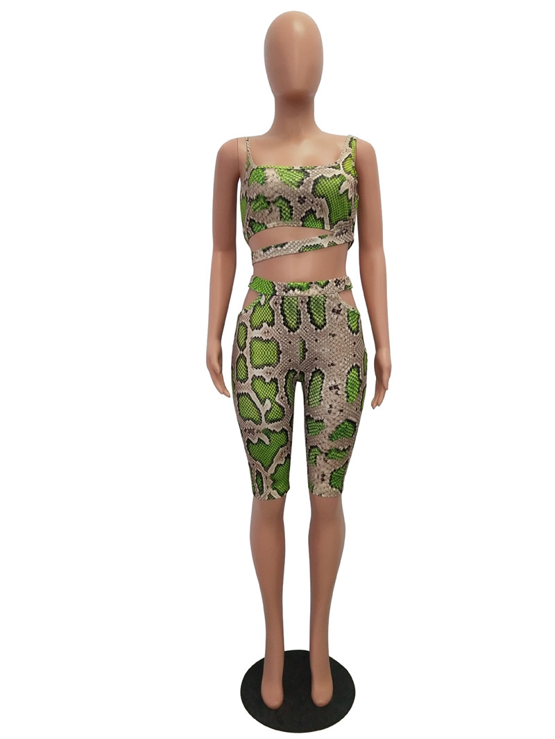 Sexy SnakeSkin Print Two Piece Sets Women Sleeveless Tank Crop Top and Knee-length Pants Cut Out Streetwear Matching Set Outfits