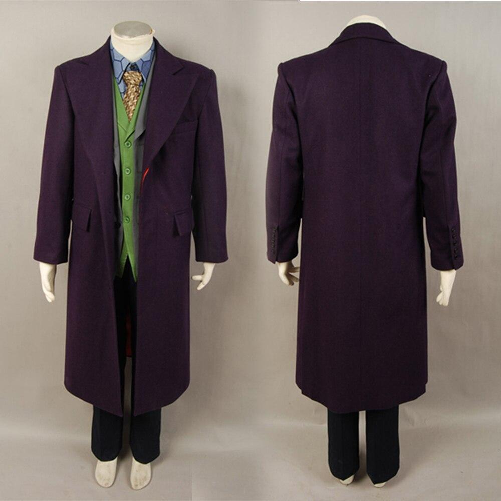 Batman Dark Knight Joker Purple Wool Trench Coat For Adult Men Halloween Movie Cosplay Costume Free Shipping