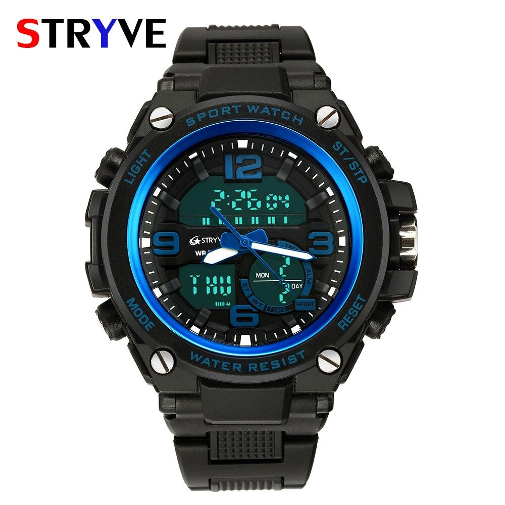8a7306989aa Stryve Militar Marca Big Dial Luxo Multifunções Dupla Afixação de Quartzo Relógios  Digitais À Prova D
