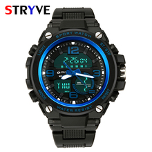 hot deal buy stryve brand military big dial dual display quartz digital watches waterproof luxury multifunction men sport wrist watches clock