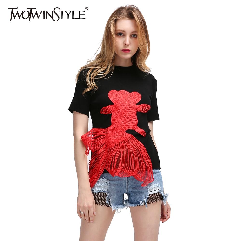 TWOTWINSTYLE 2017 Knitting Embroidery Female T-shirt Autumn Short Sleeve White Tee Shirt for Women Slim Elegant Vegan Clothing