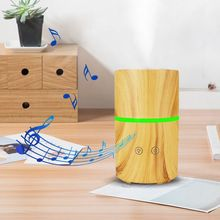 200ml Ultrasonic Air Aroma Humidifier Electric Aromatherapy Essential Oil Diffuser Wood Grain with Bluetooth Music Speaker