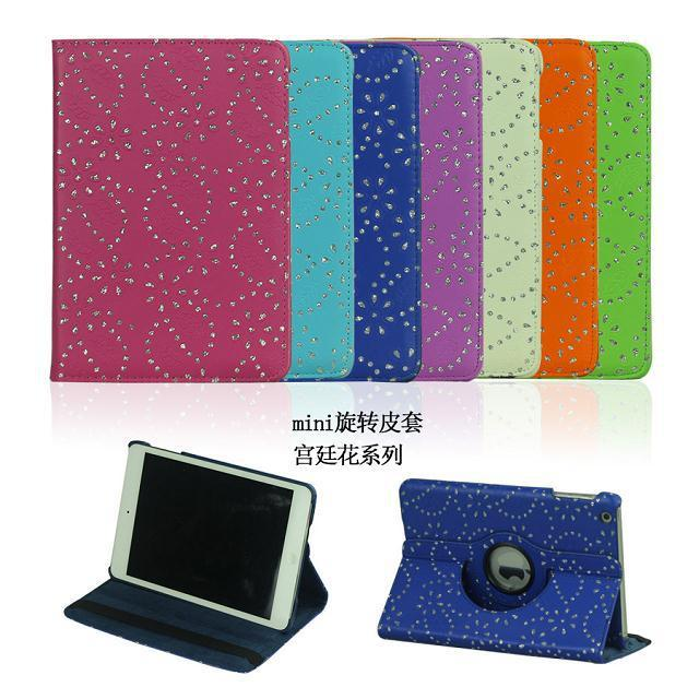 GTH Fashion For Mini 3 360 Rotating PU Leather Diamond Flower Smart Cover case For Apple ipad mini mini 2 With Retina Display