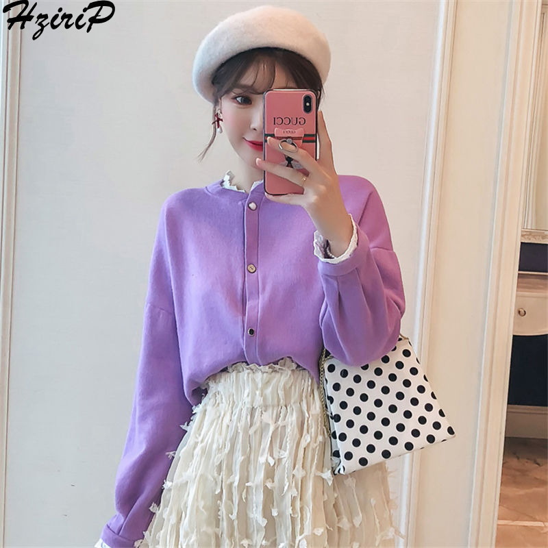 Hzirip Vintage Knitted Short Sweater 2018 Autumn Winter New Cardigans Women Top Warm Slim Solid Casual Fashion Clothing 2 Colors