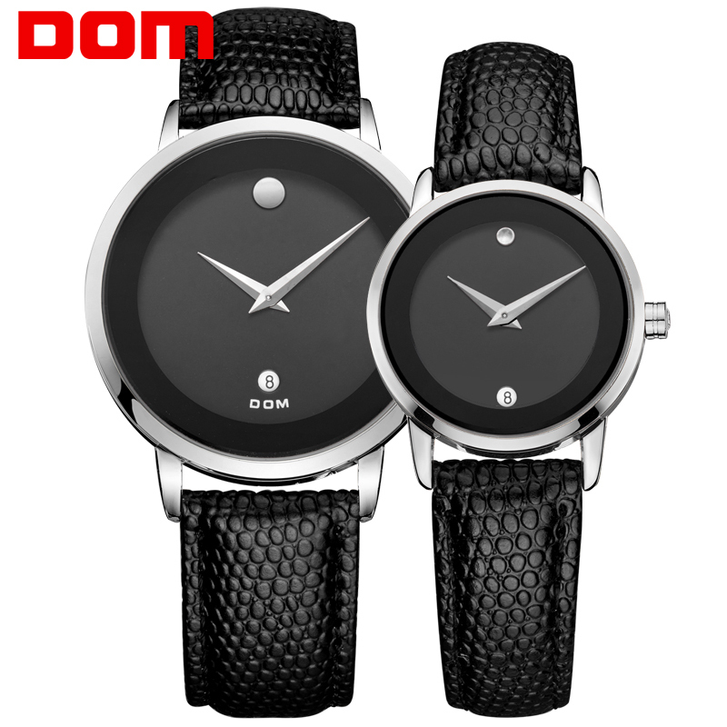 DOM lovers couple watches luxury brand waterproof style quartz leather watch gold watch MS-375-1M+GS-1075-1M