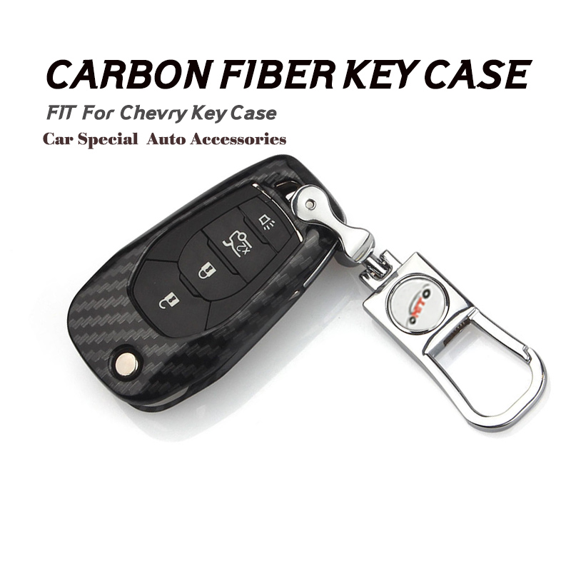 Hot selling carbon fiber car Key 1pcs 4 Buttons Remote Car Key Shell for 16 17 new Chevrolet cruze