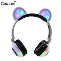 Cute Colorful LED Light Bear Ear Charging Headphones Foldable Headset Earphone