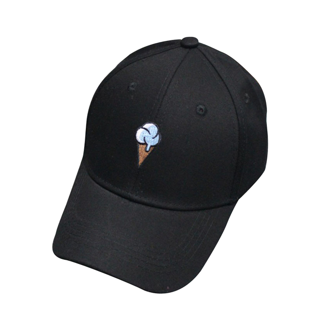 73ba1c45a17 Unisex Baseball Cap Women Men s Autumn Cotton Causal Caps Ice Cream Print  Bone Black Hat Peaks