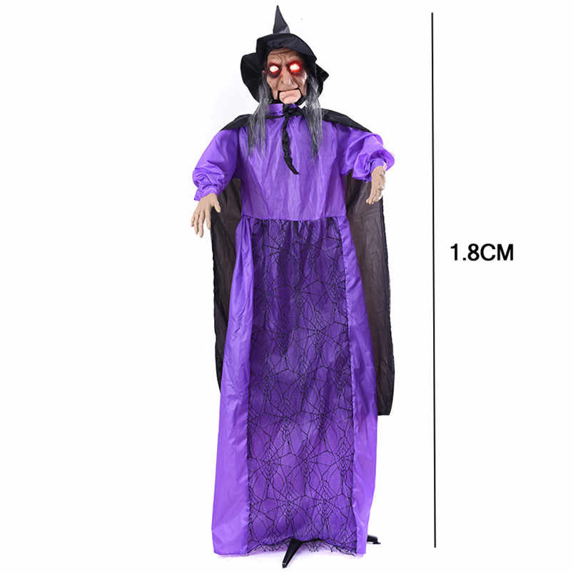 Halloween Big Size Standing Toys Welcome Door Decoration Statue Horror Witch with Horror Voice Realistic Scare Witch Dolls Prank