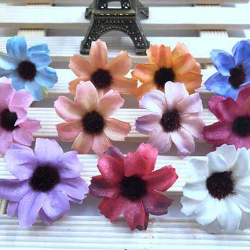 12PCS South Korea Sen female small fresh seaside resort wreath accessories simulation cosmos flower hair band hoop accessories in Artificial Dried Flowers from Home Garden