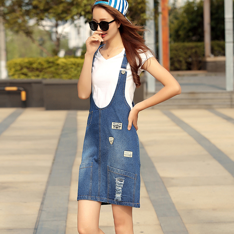 4394d52a57 Girls Summer Style Denim Dress For Women Solid Color Jeans Dresses Casual  Strap Dresses Teenage Girls Clothing One Size D0045-in Dresses from Mother    Kids ...