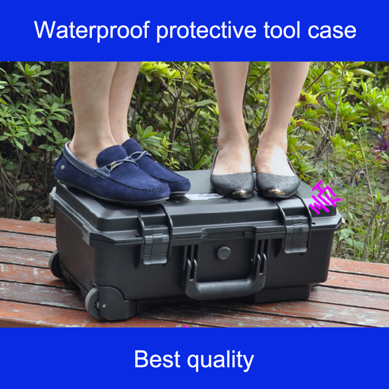 Protective Trolley Case Big Toolbox Impact Resistant Waterproof Camera Box Photography Bag 510*290*195mm With Pre-cut Foam